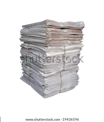 Big pile of the newspapers on white background