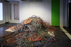 Big pile of wires on the floor