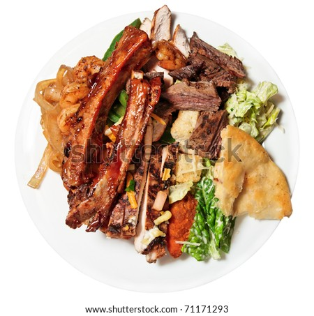 Big plate with assortment of foods - for really hungry guys