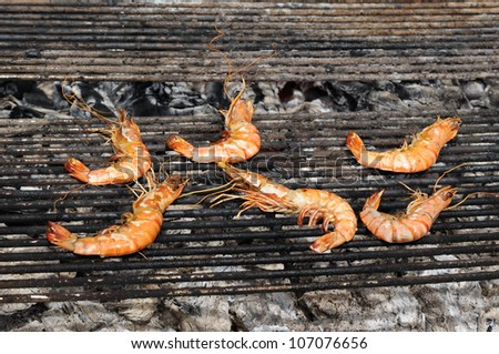 Big prawns fried on picnic