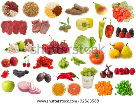 big raw food collection, fruits, vegetables and meat