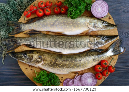 Big raw pikes with vegetables and herbs on a wooden tray. Fresh catch. Dietary product. Top view. Ready to cook. #1567930123