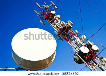 Big red and white antenna with blue sky