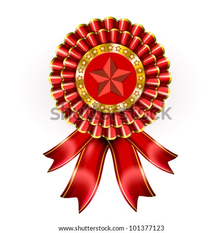 Big Red Award Label with star and ribbons - stock photo