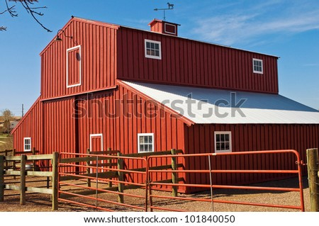 Big red barn against the blue sky