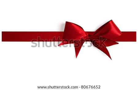 Big red bow with shadow on a white background. Full resolution version.