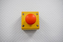 Big red button for emergency stop machinery
