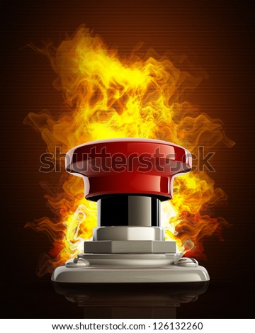 Big red button in Fire. High resolution. 3D image