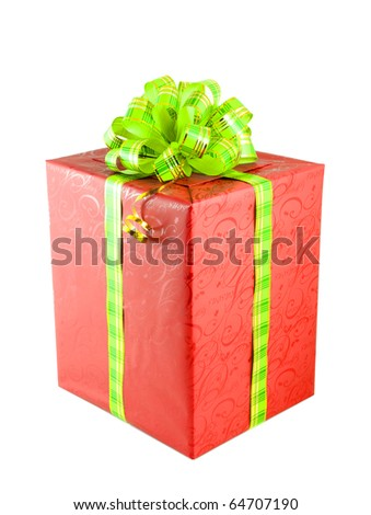 Big red Christmas gift with green bow