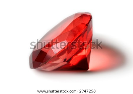 Big red diamond isolated on white