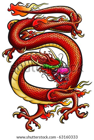 Big red Dragone. Original artwork inspired with traditional Chinese and Japanese dragon arts.