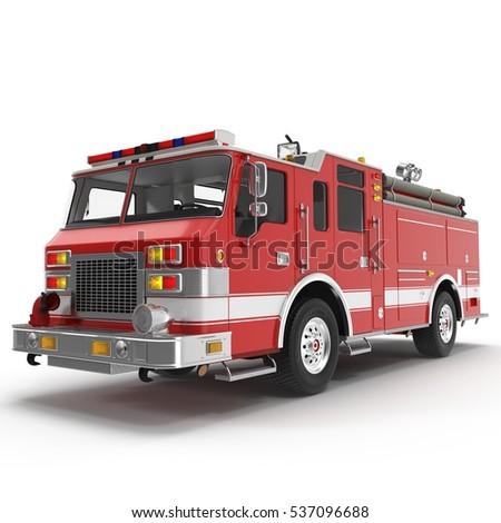 Big Red Fire Truck Isolated on White. 3D illustration