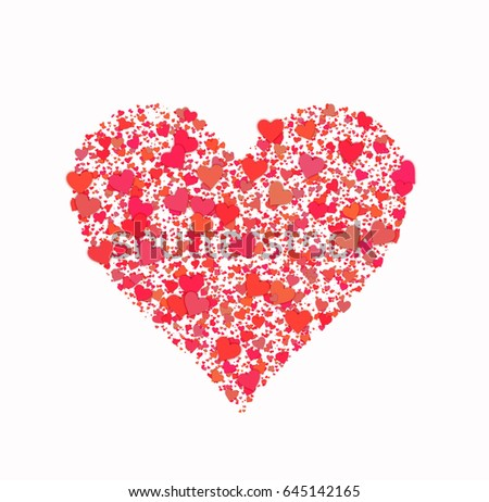 Big Red Heart From Many Small Hearts Love Symbol Ez Canvas