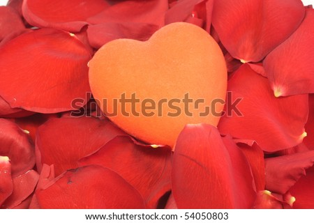 big red heart is in the petals of red roses