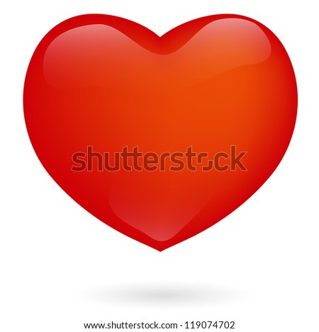 Big Red Heart Over White Background
