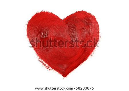 Big red heart painted in oil paint isolated on white background - stock photo