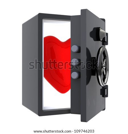 big red heart protected in a safe, 3d illustration