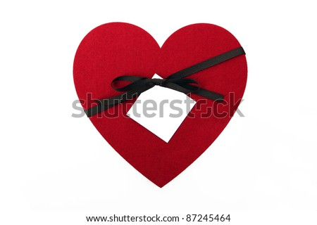 Big Red Heart with brown ribbon, bow and white label with place for copy/text.