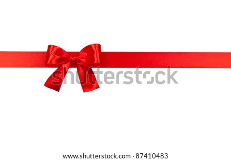 Big red holiday bow isolated on white background