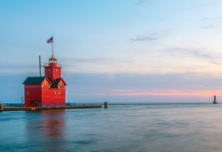 Big Red Lighthouse, Holland, Michigan; Sunset over Lake Michigan and the Holland Harbor Light