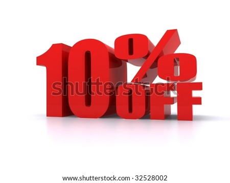 Big red 10% Off promotional sign