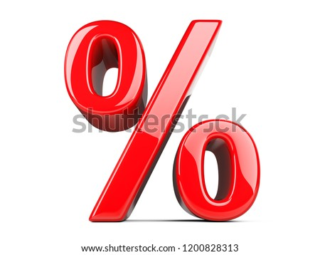 Big red percent sign. 3D illustration isolated on white background.