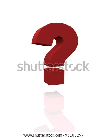 Big red question mark with reflection on a white background