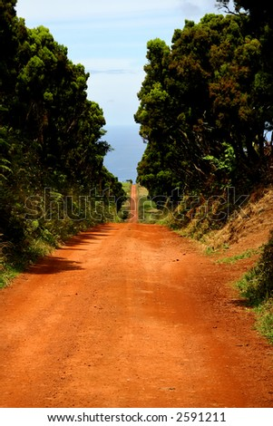 big red road in sao jorge island, azores