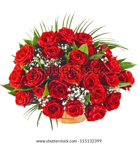 Big Red roses bouquet isolated on the white background