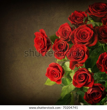 Big Red Roses Bouquet.Vintage Styled