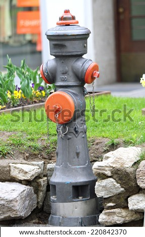 big road hydrant for attack on the fire truck fire in case of fire and emergency