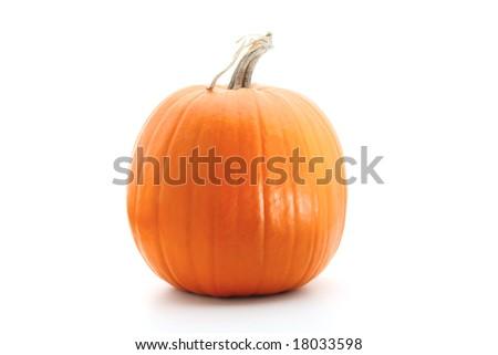 Big round orange pumpkin isolated on white