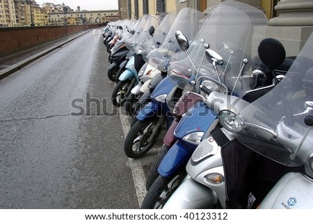 Big row of motorcycles on the street