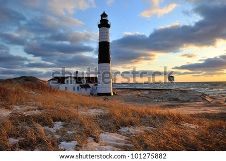Big Sable Point Lighthouse Sunset, Ludington Michigan, USA