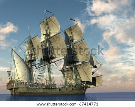 big sailing ship in the ocean
