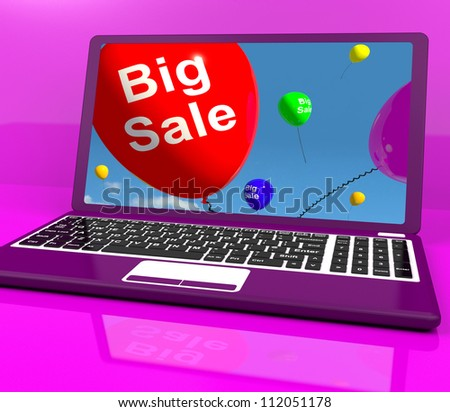 Big Sale Balloon On Laptop Showing Online Discounts