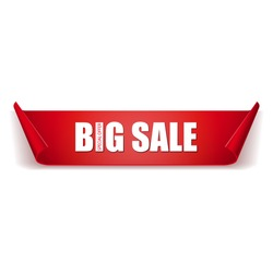 Big sale banner. Red ribbon. On white background.