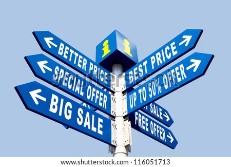 Big Sale, Better Price and Special Offer Directional Road Signs on Blue Sky - stock photo