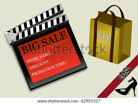 Big sale film slate poster - stock photo