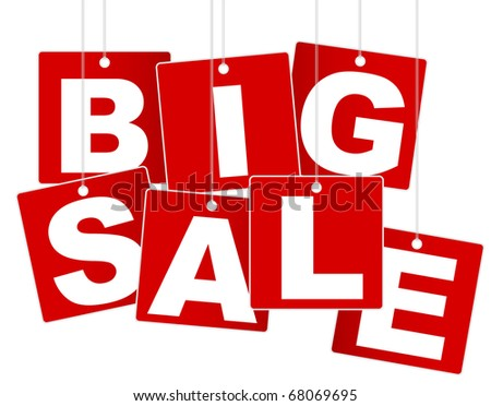 Big Sale Sign - White Letters on Red Background