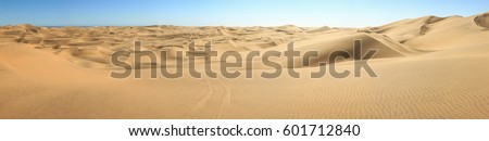 Big sand dunes panorama. Desert or beach sand textured background. #601712840