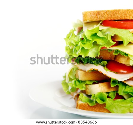 Big sandwich on the plate isolated over white background