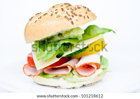 big sandwich with fresh vegetables