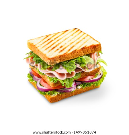 Big sandwich with ham, salad, and tomatoes Foto stock ©