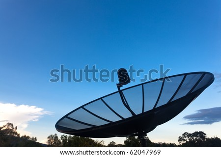 Big satellite dish close up view