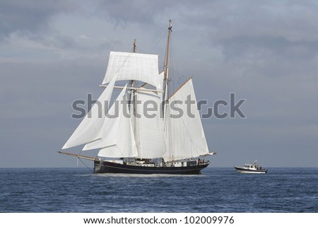 Big schooner and small cutter following it