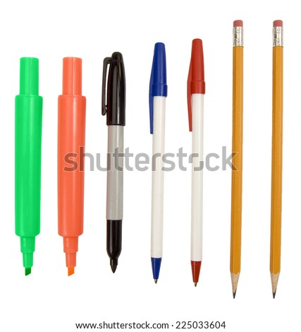 Big Selection Of Writing Implements/ School Supplies/ Isolated On White #225033604