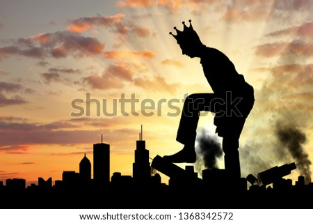 Big selfish man with a crown destroys the city on his way. Big Ego Concept