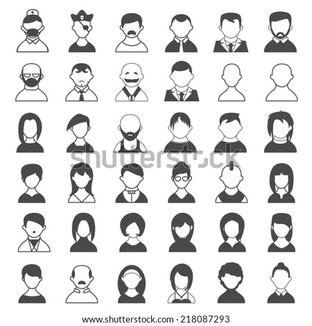 Big Set Black and White Outline Icons of Users. Emphasizing what type the user is.
