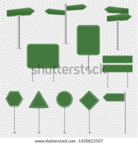 Big Set Green Stop Signs And Traffic Sign Collection Transparent Background #1420823507